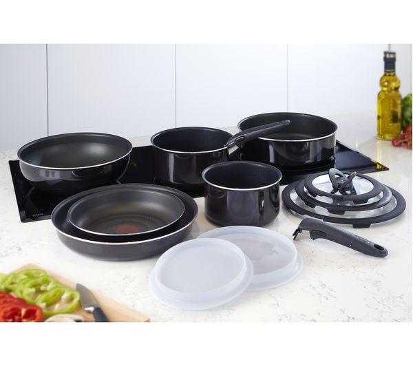 tefal ingenio l4759345 13 piece pan set black ebay. Black Bedroom Furniture Sets. Home Design Ideas