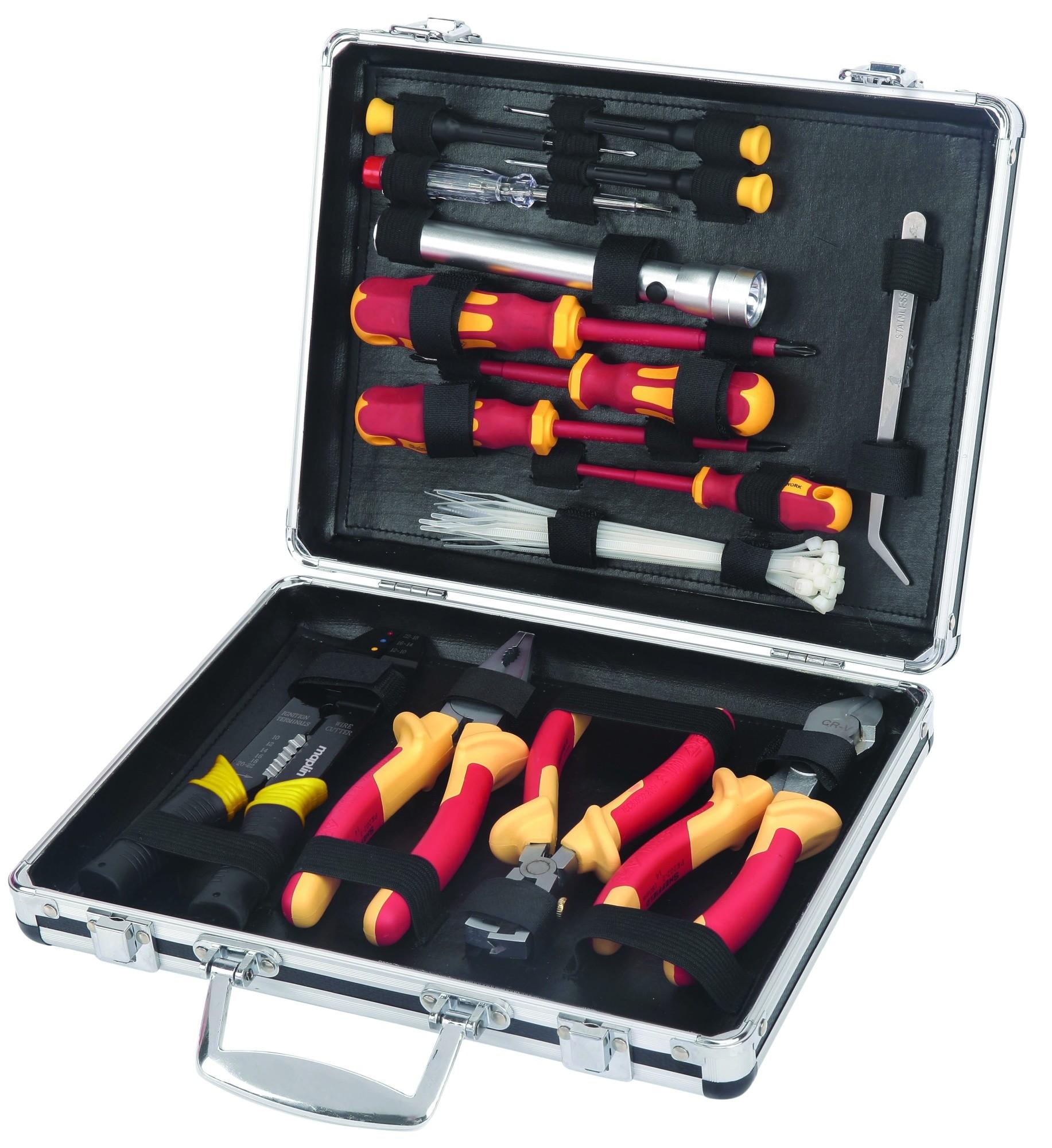 Maplin 34 Piece VDE Electricians DIY Tool Kit Aluminium Storage Case Pliers New