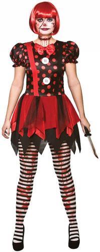 Horror Clown Ladies Fancy Dress Halloween Scary Circus Adults Womens