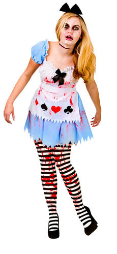 Zombie Alice Tights Ladies Halloween Fancy Dress Womens Horror
