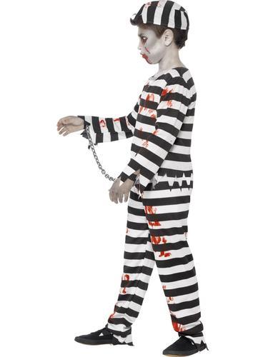 Girls Zombie Convict Prisoner Prison Jailbird Childs Dead Fancy Dress Costume