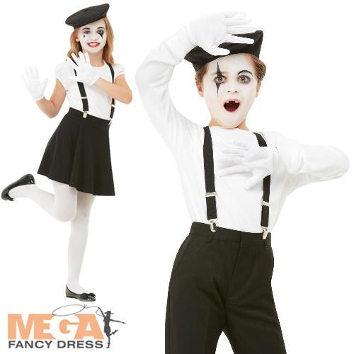 Intelligente Kit Mime Bambini Costume Clown Francese Circo Ragazzi Ragazze Set Accessori Costume-mostra Il Titolo Originale Chiaro E Distintivo