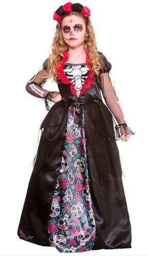 Deluxe Day of the Dead Girls Fancy Dress Mexican Skeleton Kids Halloween Costume - eBay