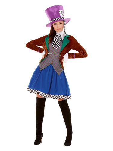 Adults Wonderland Alice Mad Hatter Costume Ladies Mens Fancy Dress Book Day Week