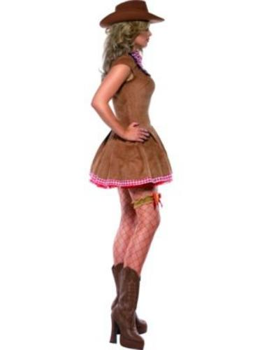 Sexy-Western-Cowgirl-Ladies-Fancy-Dress-Womens-Adults-Cowboy-Costume-UK-8-18-New thumbnail 5