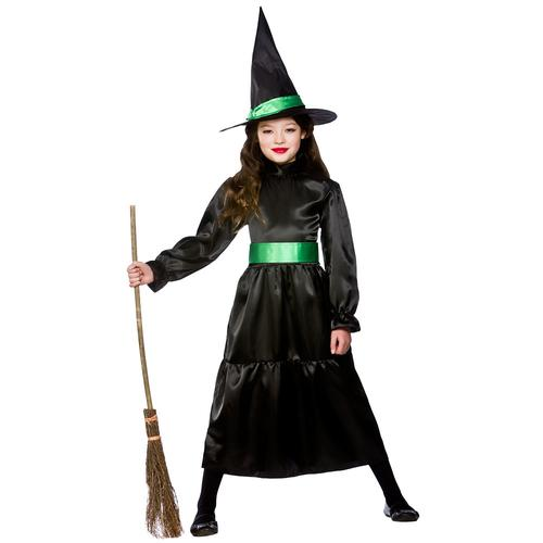 Black Wicked Witch Girls Halloween Fancy Dress Kids Childrens ...