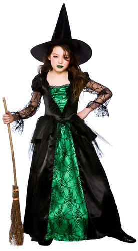 Deluxe Emerald Witch Girls Fancy Dress Halloween Childrens Kids ...