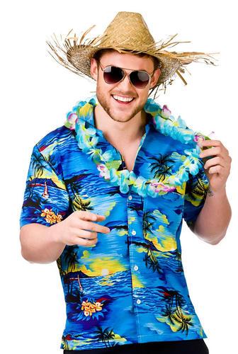 Hawaiian Shirts + Straw Hat Mens Fancy Dress Beach Party Adults ... 3ba49dd0dd6