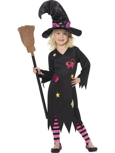 Halloween-Witch-Hat-Girls-Fancy-Dress-Up-Horror-  sc 1 st  eBay & Halloween Witch + Hat Girls Fancy Dress Up Horror Kids Childrens ...