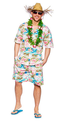 Hawaiian Suit Mens Fancy Dress Beach Hula Party Tropical Adults Hawaii Costume | eBay