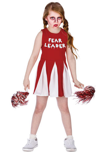 Fear-Leader-Girls-Zombie-Cheerleader-Fancy-Dress-Halloween-  sc 1 st  eBay & Fear Leader Girls Zombie Cheerleader Fancy Dress Halloween Childs ...