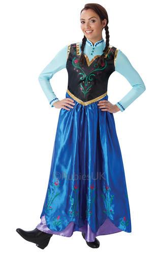 princess anna ladies fancy dress disney frozen fever womens adult costume outfit ebay. Black Bedroom Furniture Sets. Home Design Ideas