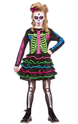 Skeleton + Facepaint Girls Fancy Dress Day Of The Dead Halloween ...