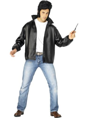 T-Birds-50s-Grease-Tbird-Fancy-Dress-Costume-  sc 1 st  eBay & T-Birds 50s Grease Tbird Fancy Dress Costume Black Leather Look Mens ...