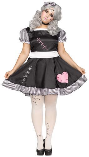 Adult Plus Size Broken Doll Costume Halloween Horror Ladies Fancy