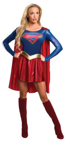 Supergirl-Ladies-Fancy-Dress-Superhero-Womens-Adults-Super-Girl-Costume-Outfit