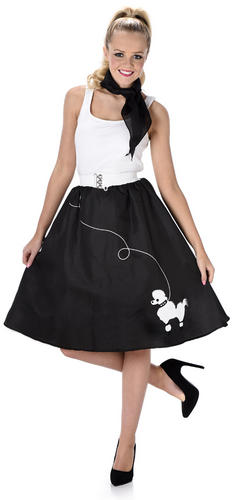 Black Poodle Skirt Ladies Fancy Dress 50s 60s
