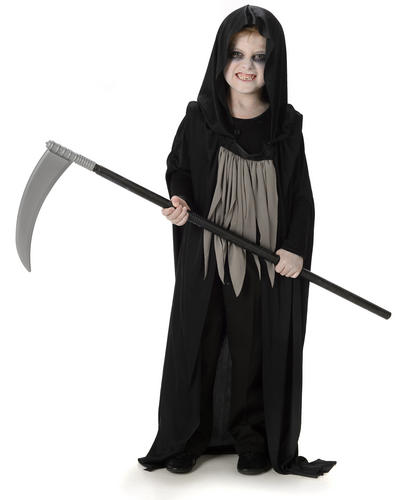 Dark-Grim-Reaper-Scythe-Fancy-Dress-Kids-Childs-  sc 1 st  eBay & Dark Grim Reaper + Scythe Fancy Dress Kids Childs Boys Halloween ...