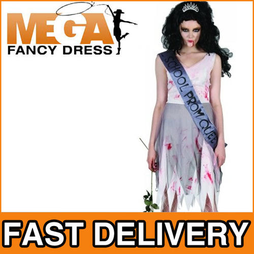 Prom Night Zombie Queen Ladies Halloween Fancy Dress Costume Outfit ...