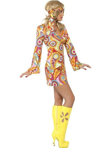 60s-Hippy-Adults-Fancy-Dress-Hippie-1970s-Groovy-Peace-Funky-Costume-Outfit-New thumbnail 4