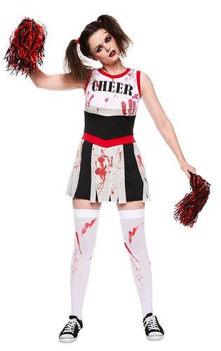zombie cheerleader stockings ladies halloween fancy dress adult costume outfit ebay. Black Bedroom Furniture Sets. Home Design Ideas