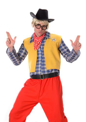 Wild western chocolate bar kid mens fancy dress cartoon cowboy