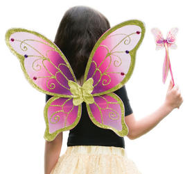 Cerise Gold Fairy Wings & Wand Costume Set