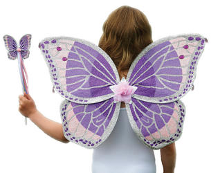 Purple Glitter Jewel Fairy Wings & Wand Costume Set