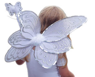 White/Silver Fairy Wings & Wand Costume Set