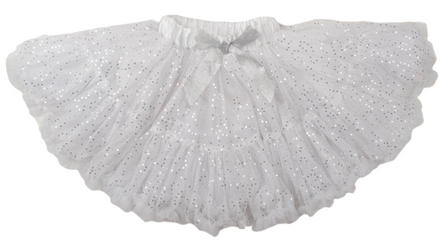 Silver Sequin Frothy Tutu Girls Costume Accessory