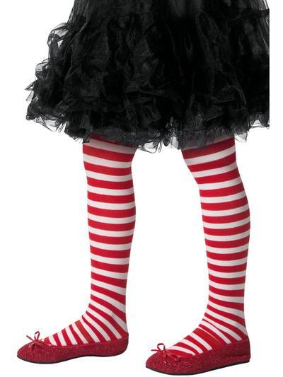 Santa Striped Girls Tights