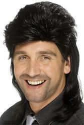 Black Mullet Mens Wig