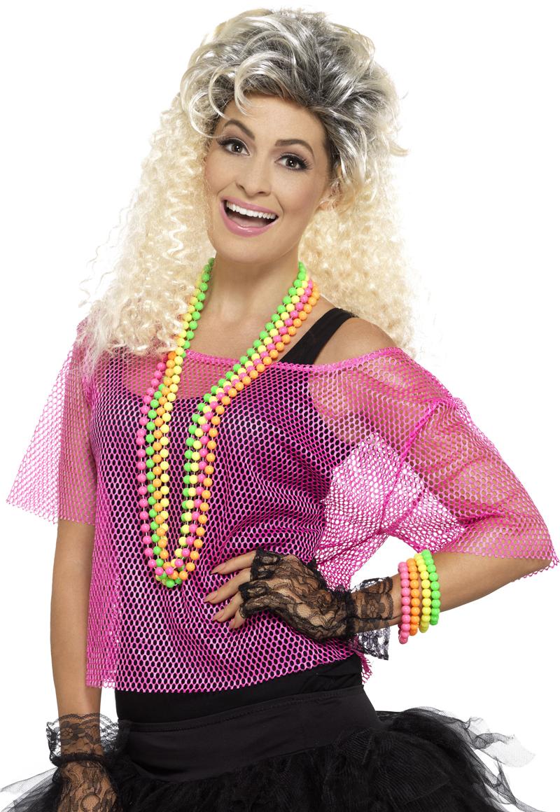 Neon Pink Fishnet Top All Ladies Costumes Mega Fancy Dress