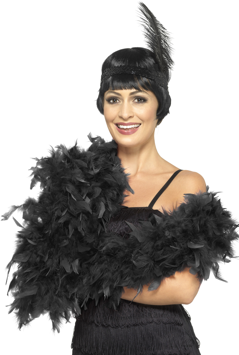 Sentinel Deluxe Black Feather Boa Ladies Fancy Dress 1920s Charleston  Flapper Costume Acc 43f239291af