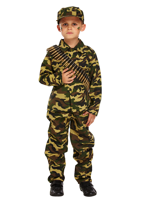 Hat Age 4-12 Army Boy Toy Soldier Fancy Dress Childrens Uniform Costume Outfit