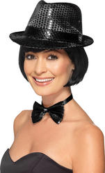 Black Sequin Trilby Hat