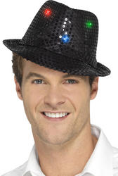Light Up Black Sequin Trilby Hat