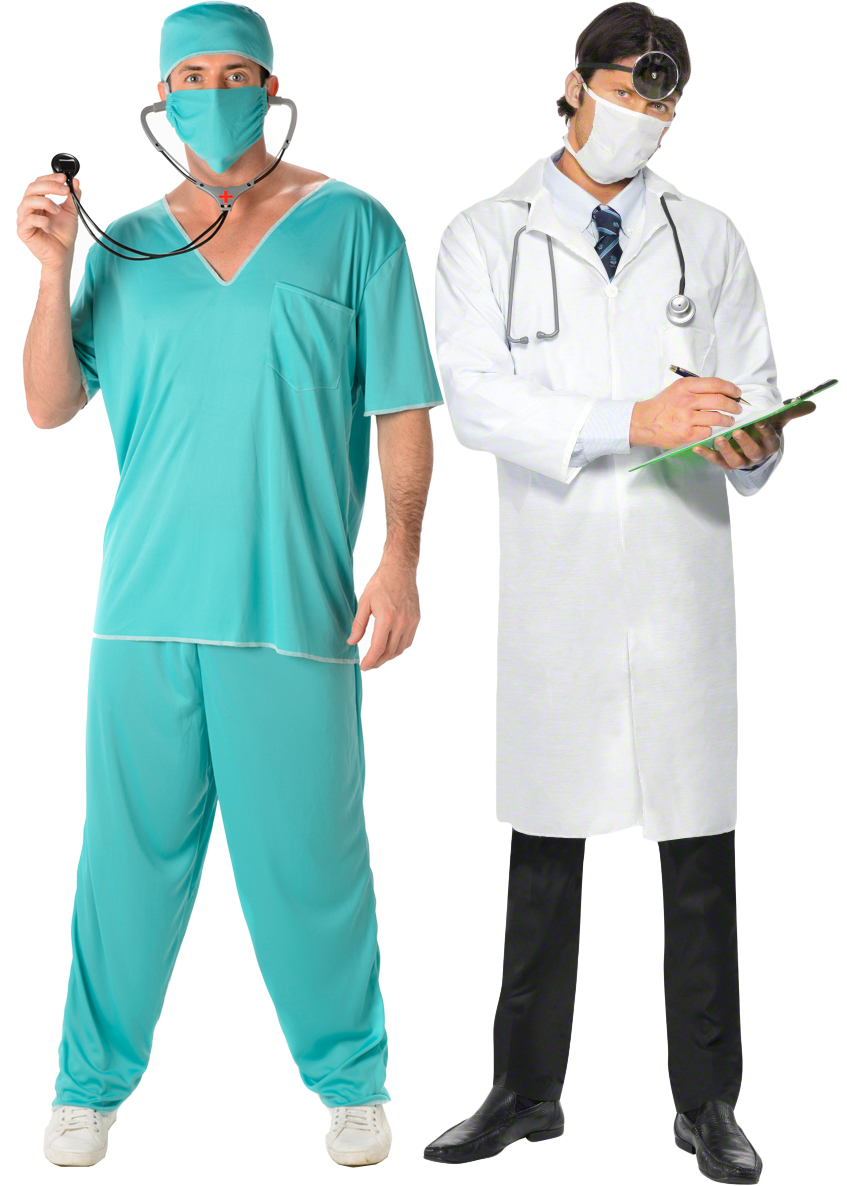 232cdad454a Details about Doctor Mens Fancy Dress Hospital Surgeon Medical Uniform  Adults Costume Outfit