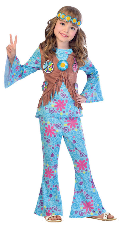 Flower Power Hippie Girls Costume