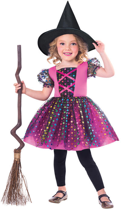 Rainbow Witch Girls Costume