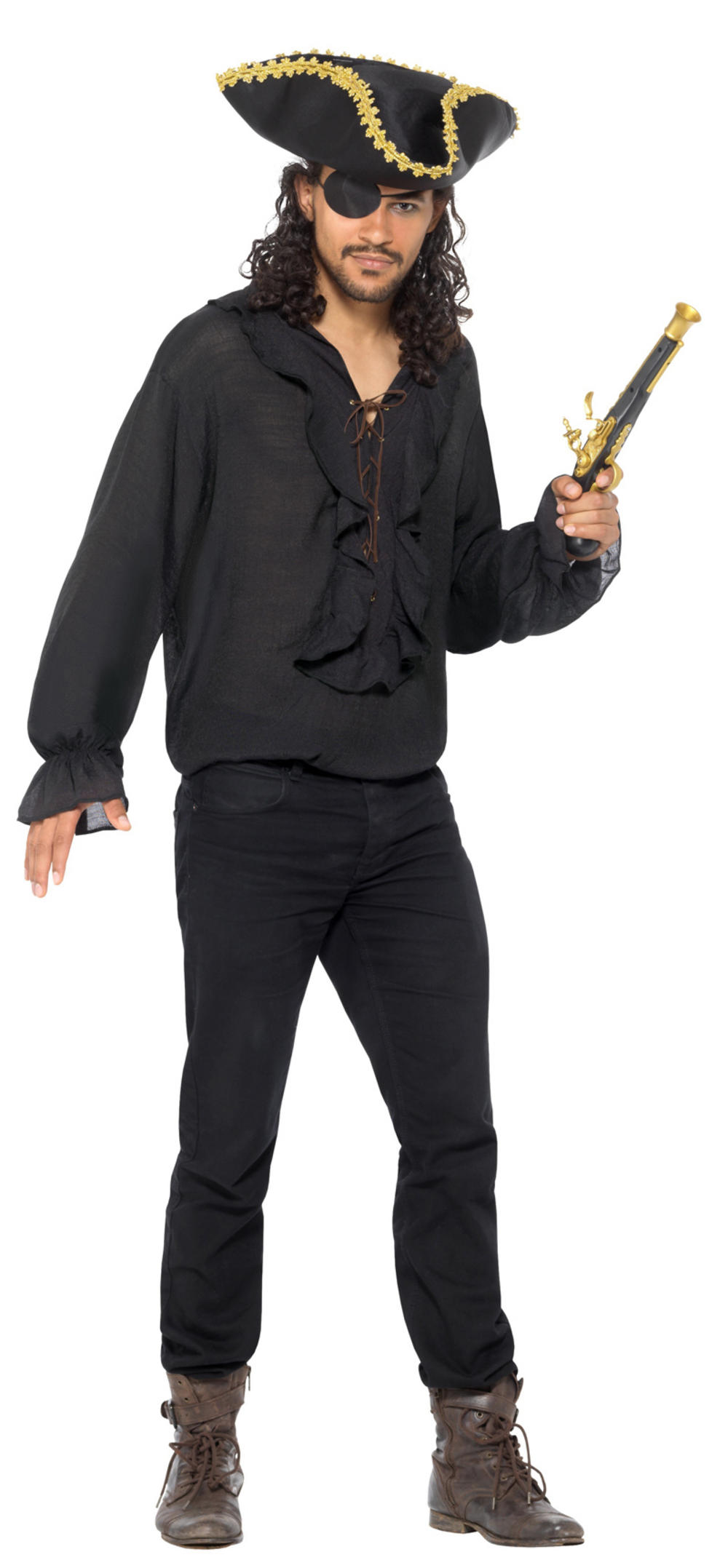 Black Pirate Shirt Adults Costume Accessory