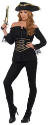 Deluxe Black Pirate Shirt Ladies Costume Accessory