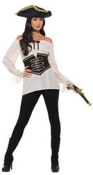 Deluxe White Pirate Shirt Ladies Costume Accessory