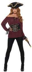 Deluxe Burgundy Pirate Shirt Ladies Costume Accessory
