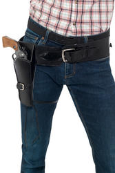 Black Faux Leather Single Holster with Belt