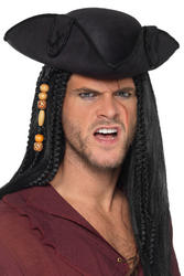 Black Tricorn Pirate Captain Adults Hat