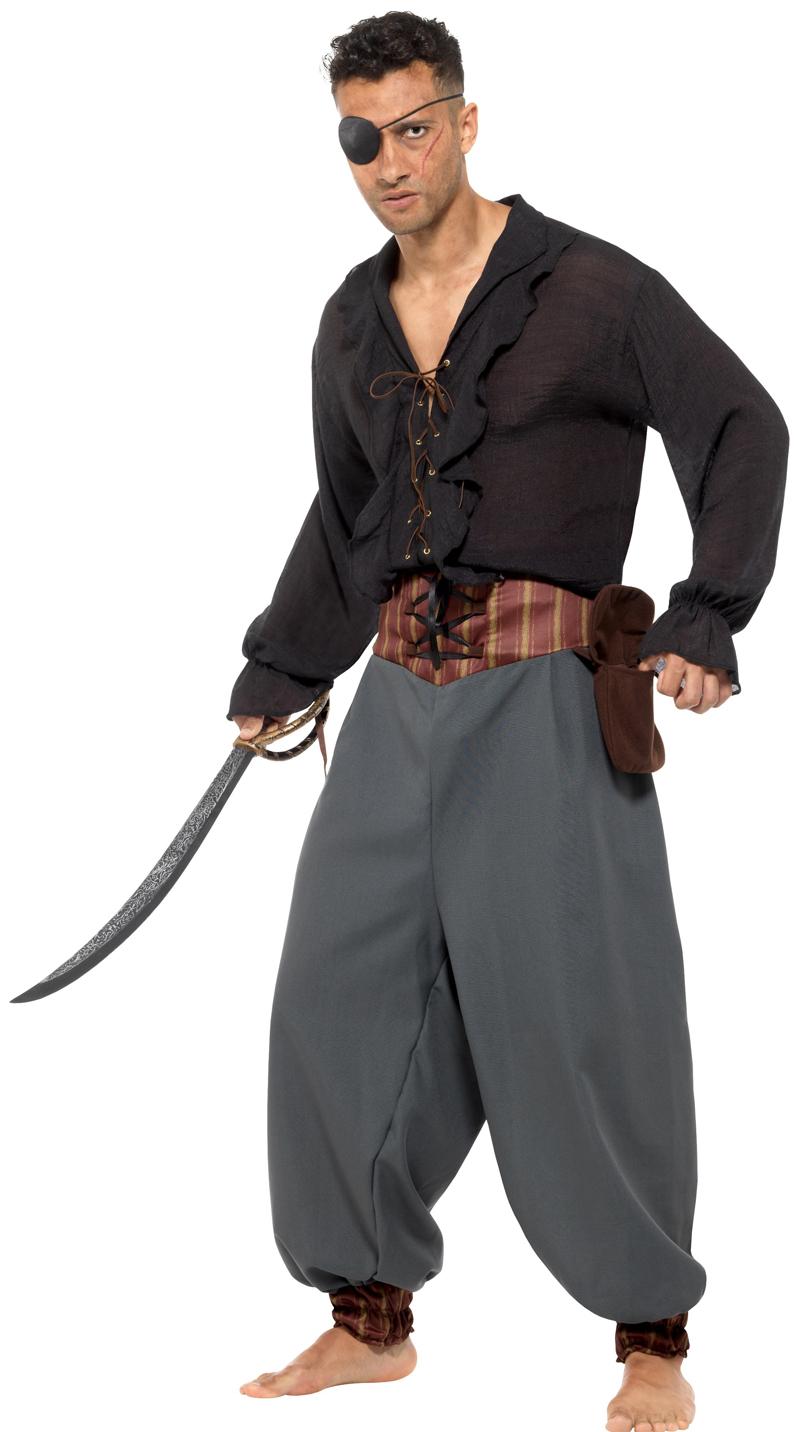Pirate Blouson Trousers Pants Mens Buccaneer Caribbean Adult Fancy Dress New
