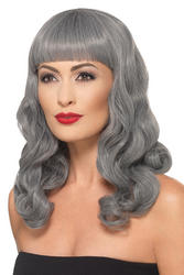 Deluxe Grey Wavy Wig With Fringe