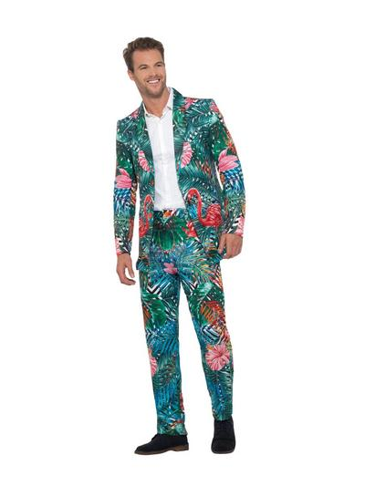 Hawaiian Tropical Flamingo Suit Mens Costume
