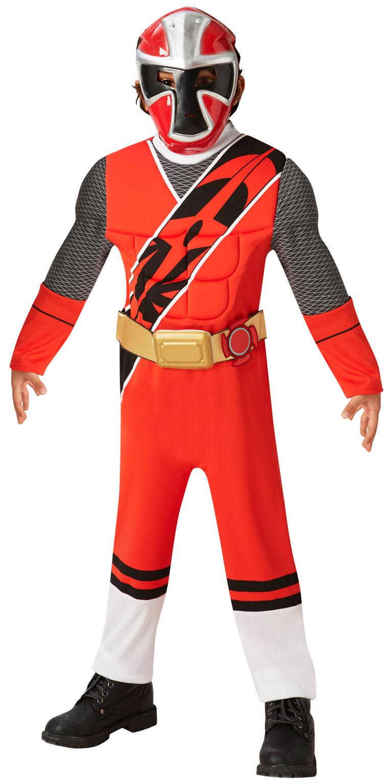 Deluxe Red Power Ranger Boys Fancy Dress Superhero Movie Childrens Kids Costume